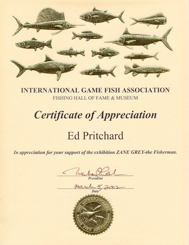 IGFA Fishing Hall of Fame Certificate