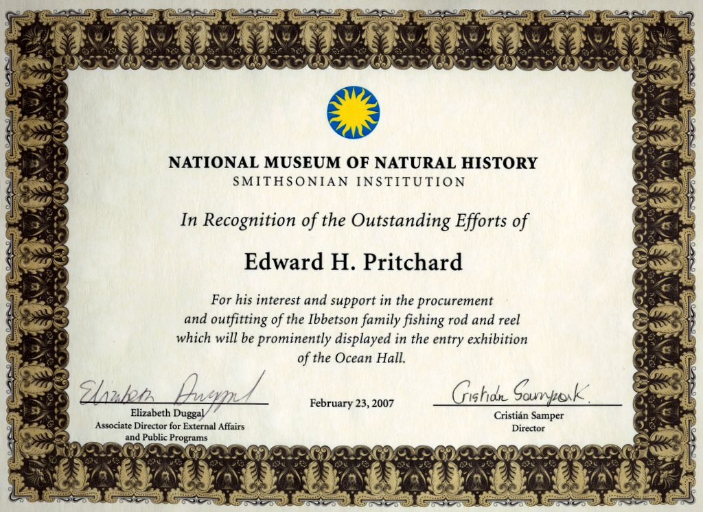 Smithsonian National Museum of Natural History Certificate